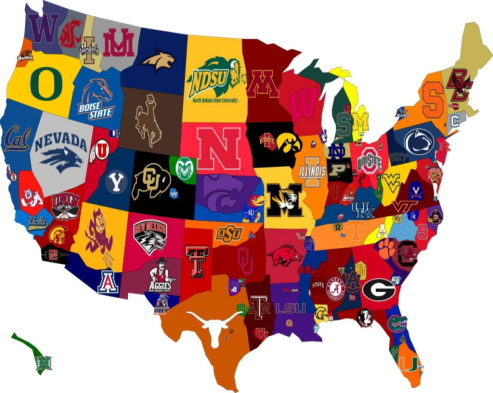 Us Map of colleges