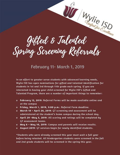 Gifted and Talented Spring Screening