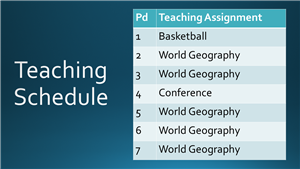 Teaching Schedule