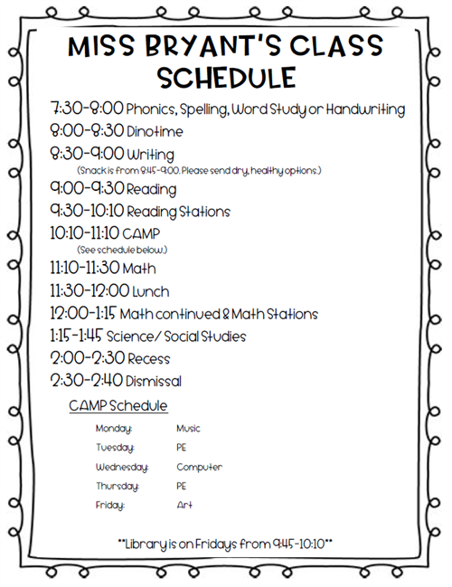 Revised Schedule