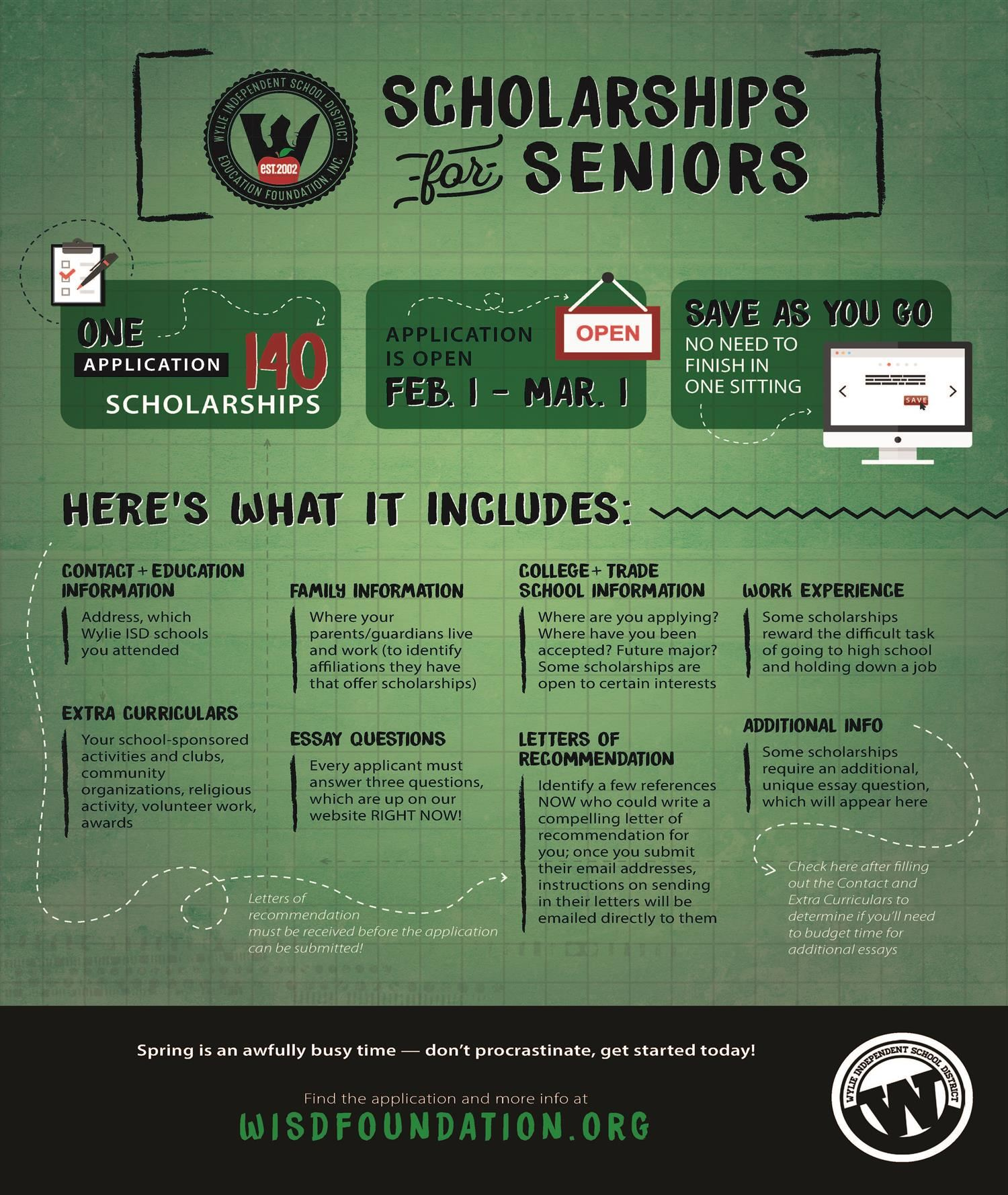 Scholarships for Seniors, one application 140 opportunities