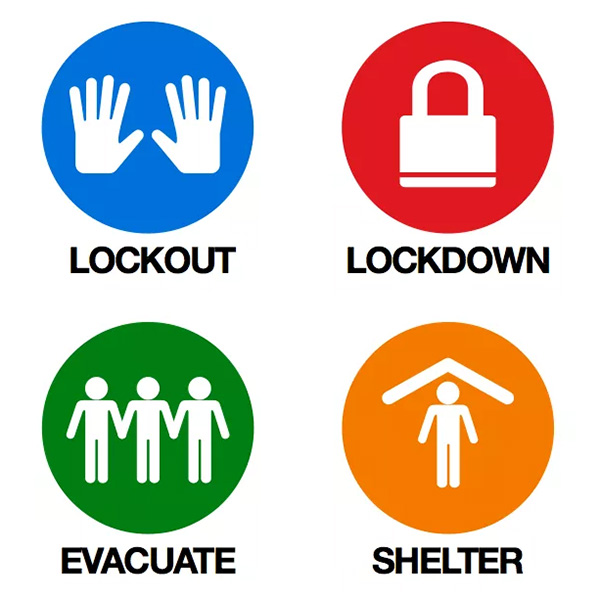 SRP Icons: Lockout, Lockdown, Evacuate and Shelter