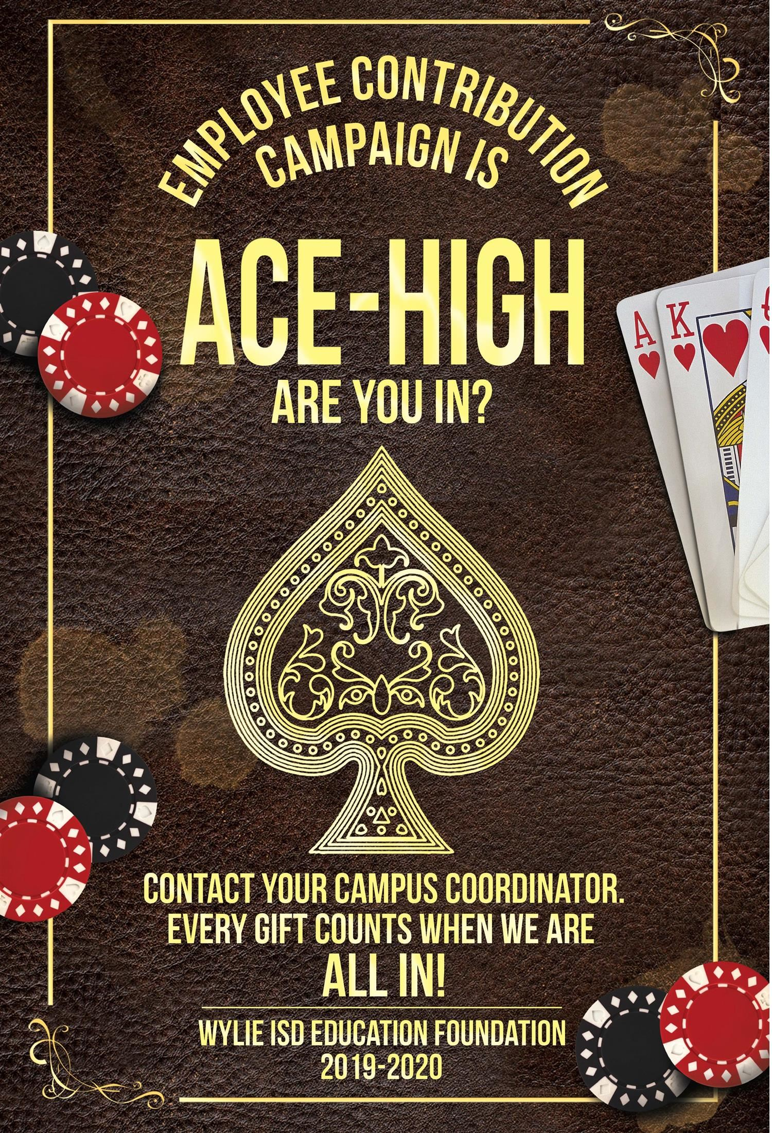 Ace high hand of cards