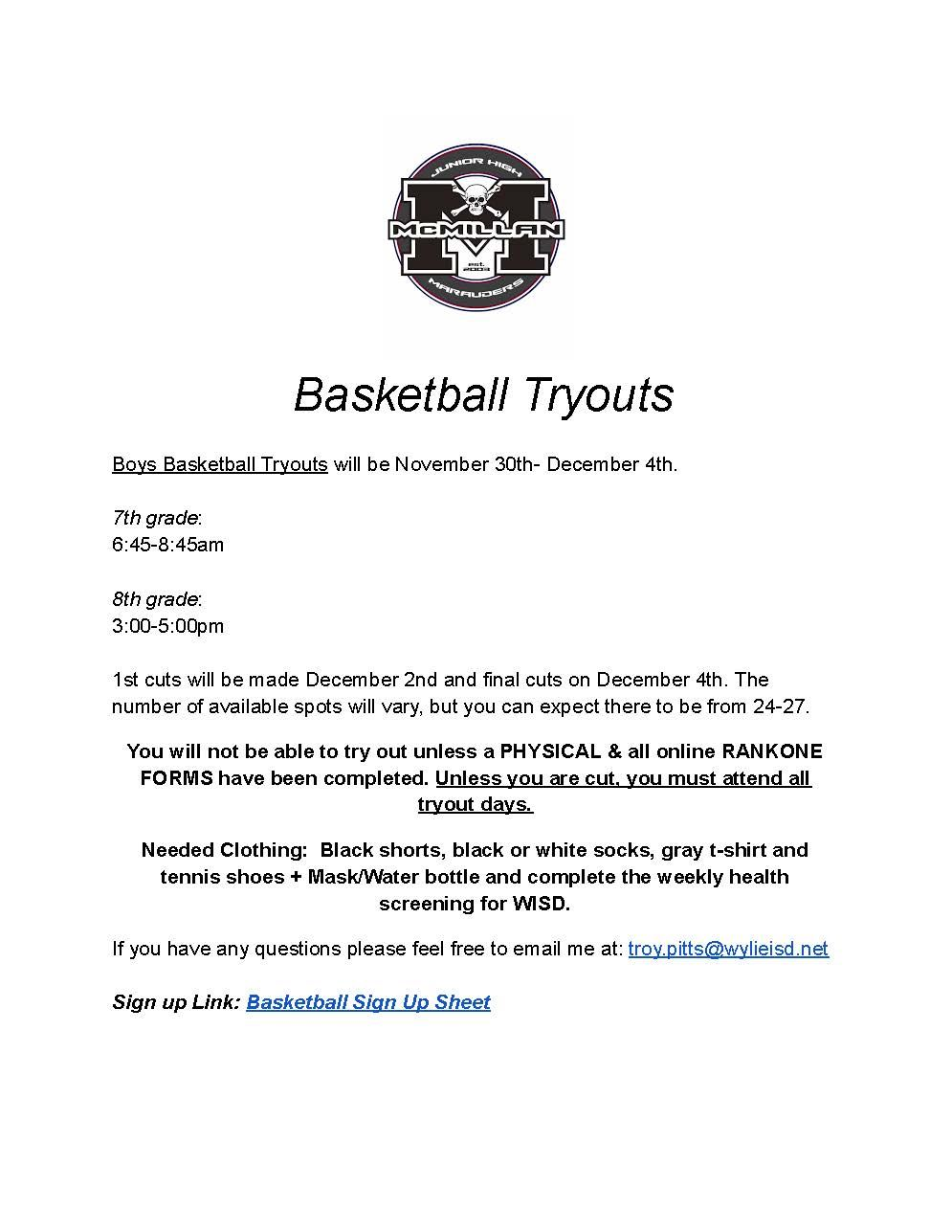 2020 Boys Basketball Tryouts