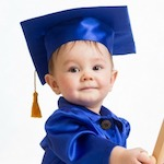 picture of baby in graduation hat