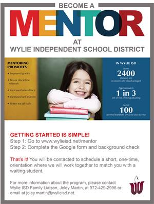 Become a mentor at Wylie Independent School District