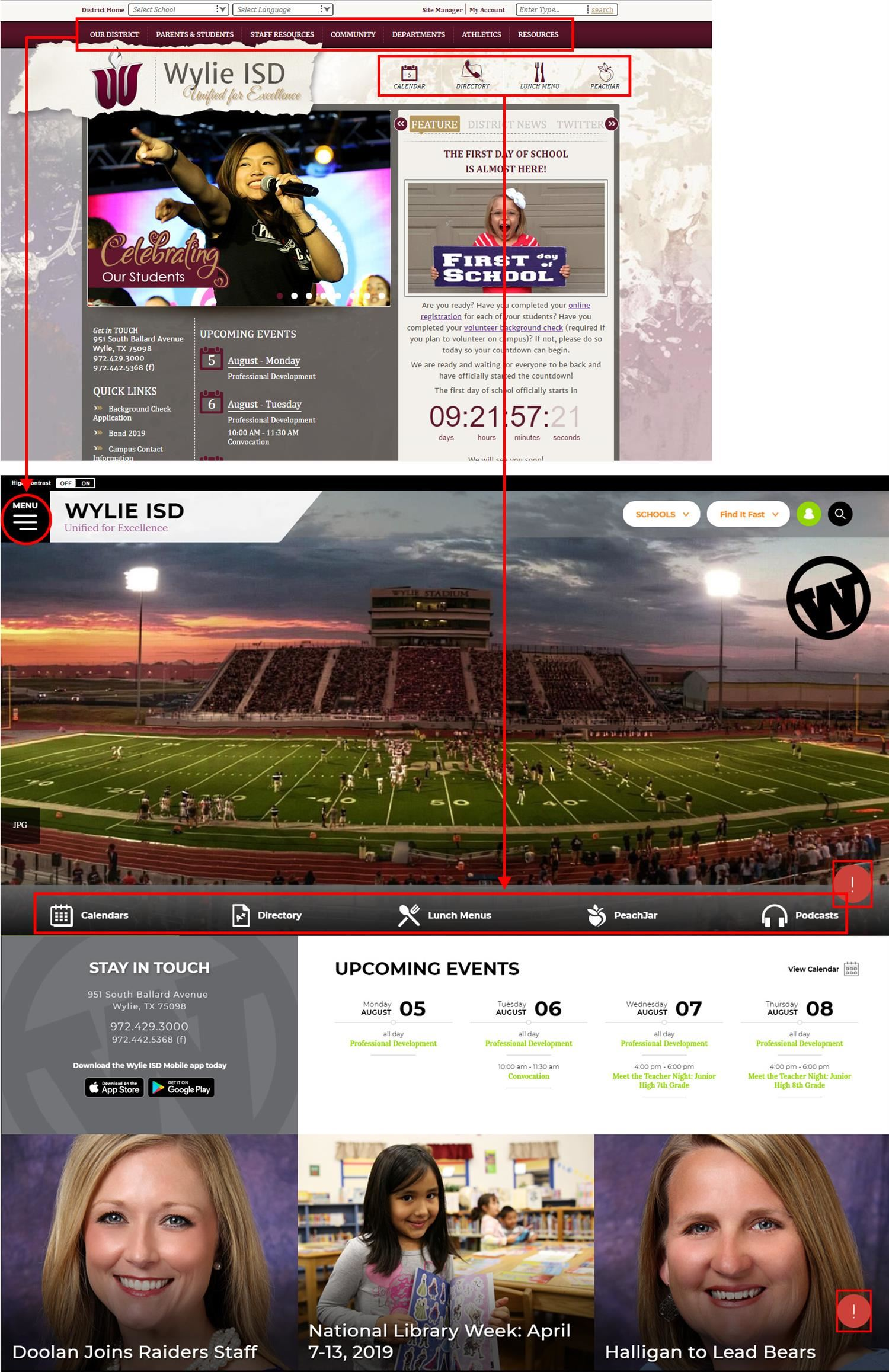 Wylie ISD Website Update Information.  Shows how navigation will move when new update is applied.