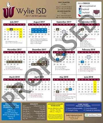 Wylie Isd Calendar 2022.2017 18 Wylie Isd Proposed Calendar