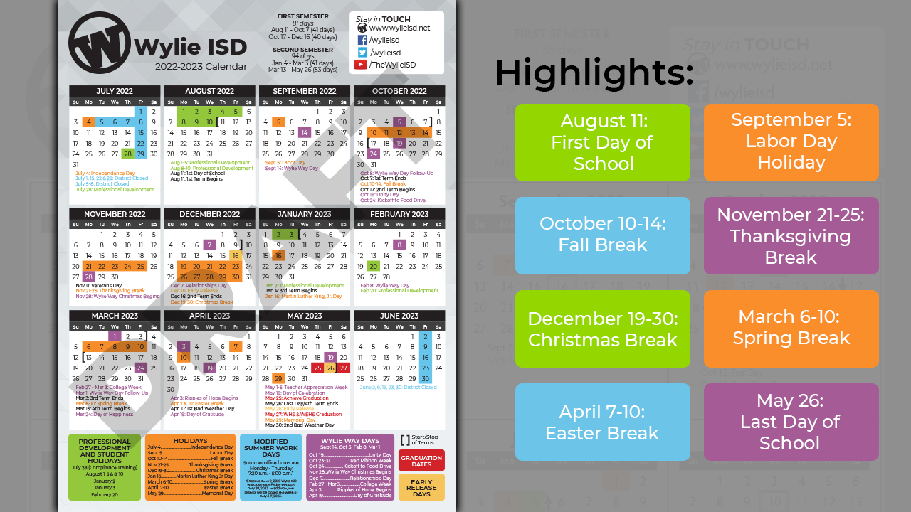 Wylie Isd Calendar 2021 2021 22 Proposed District Calendar