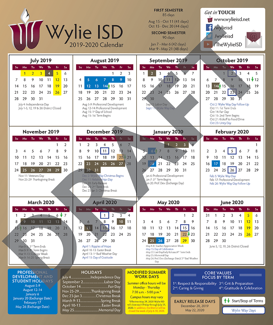 2018-19 Wylie ISD Proposed Calendar