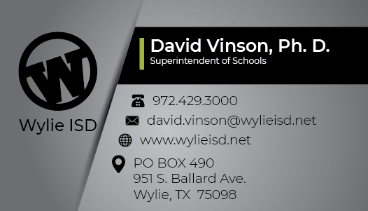 Wylie ISD Business Card Front