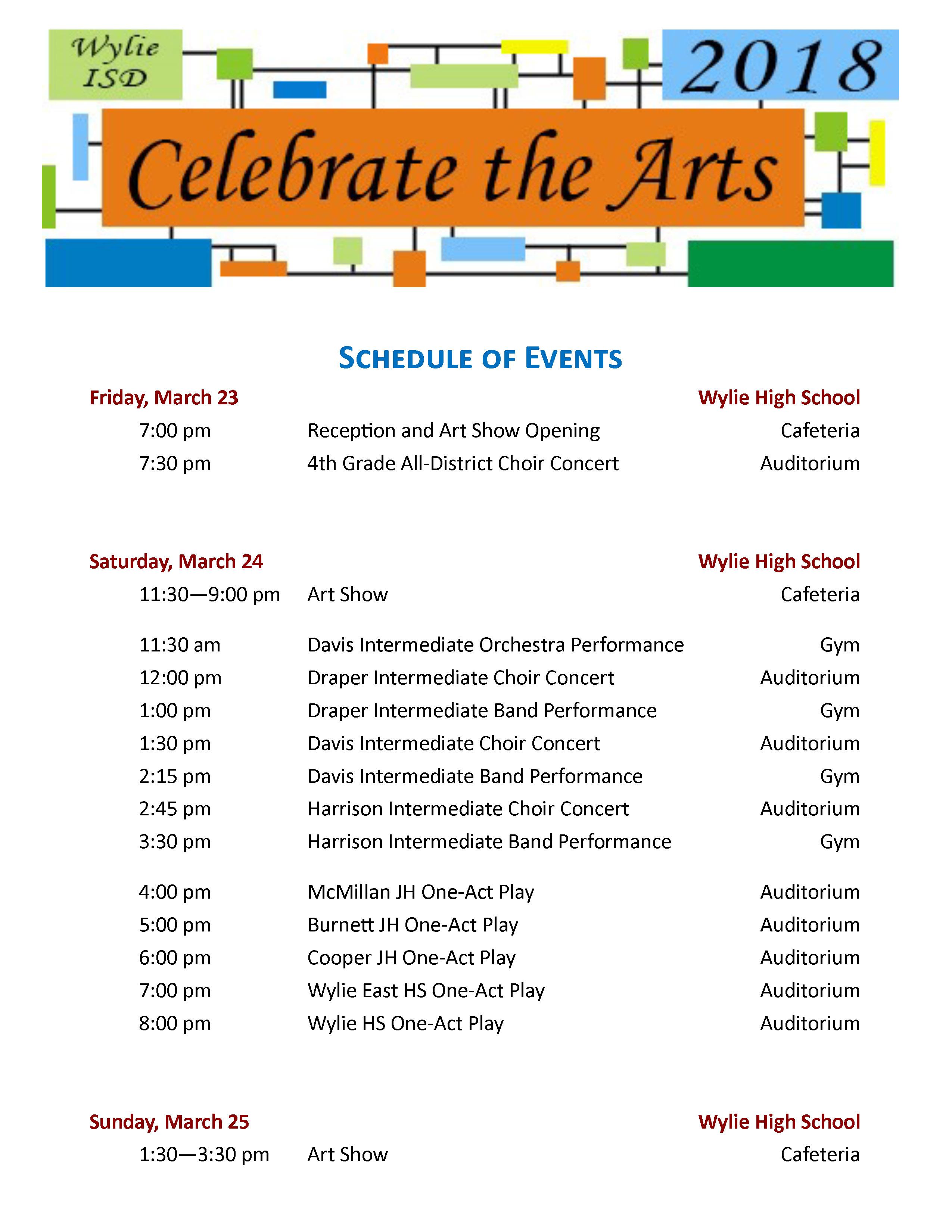 Fine Arts / Celebrate The Arts Calendar