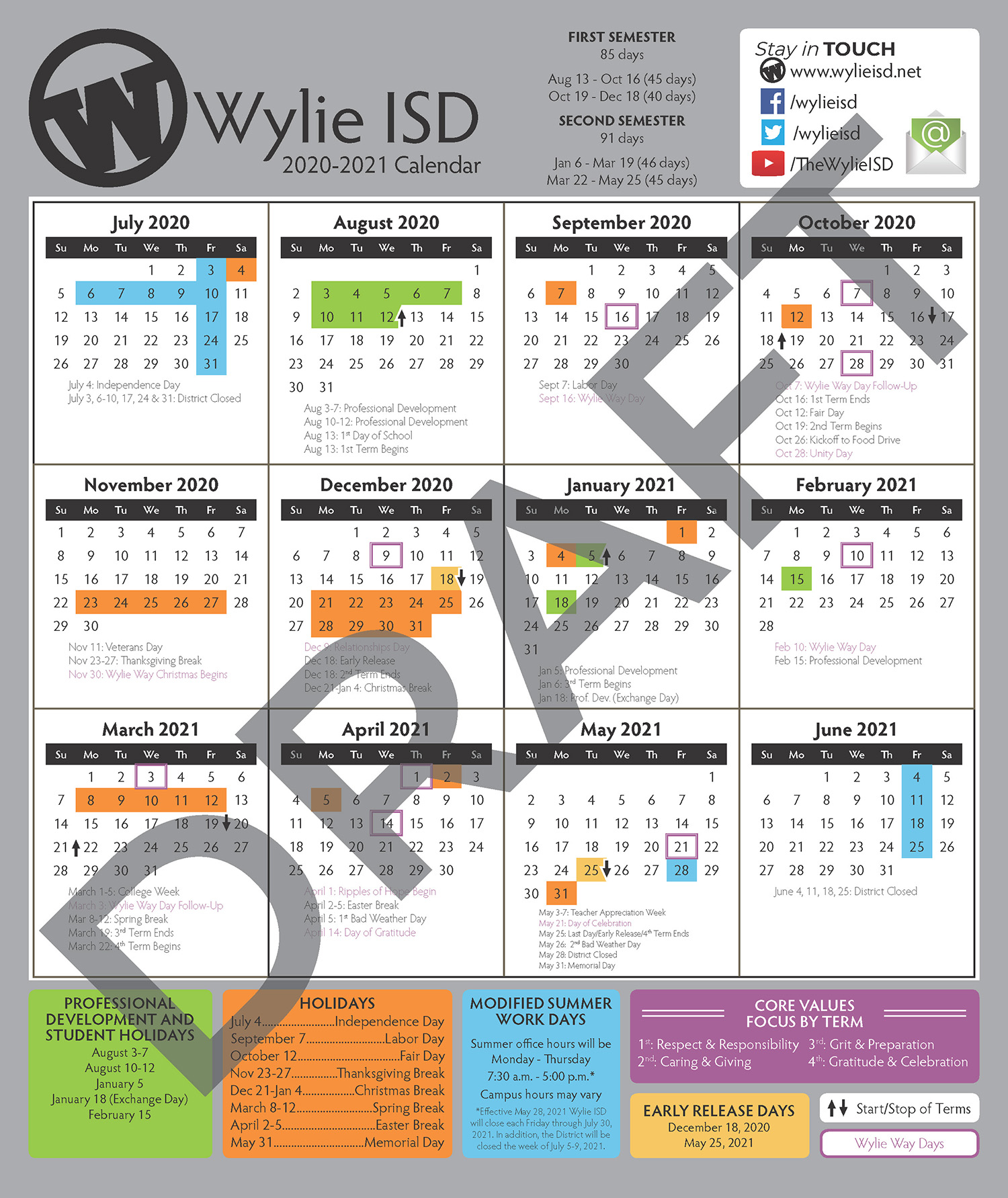 2020-21 Wylie ISD Proposed Calendar