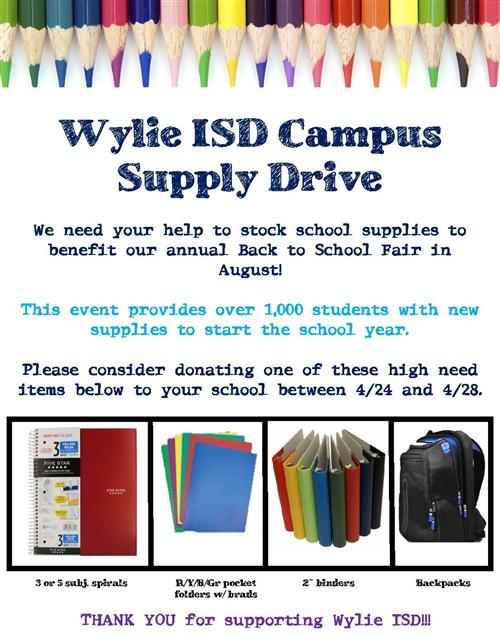 Wylie ISD Campus Supply Drive